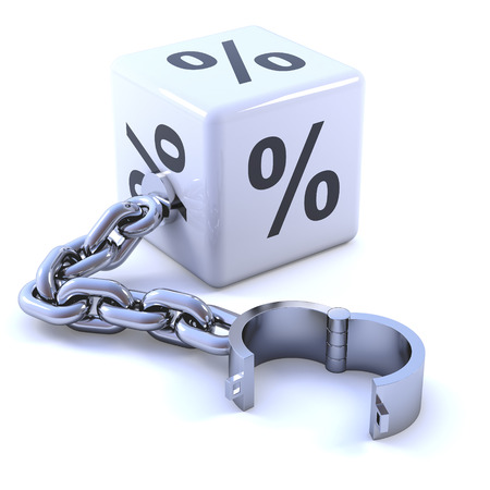 shackle: 3d render of a white percent sign dice with shackle Stock Photo