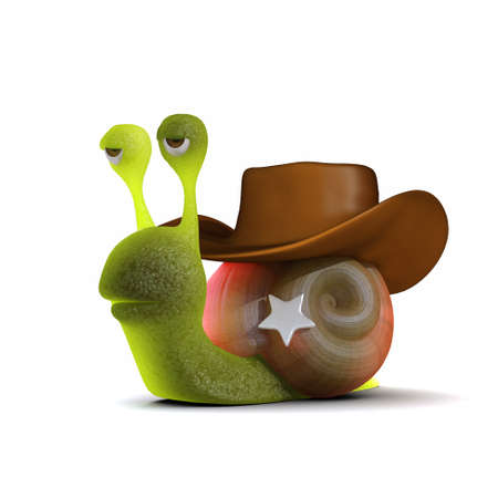 slither: 3d render of a snail dressed as a cowboy