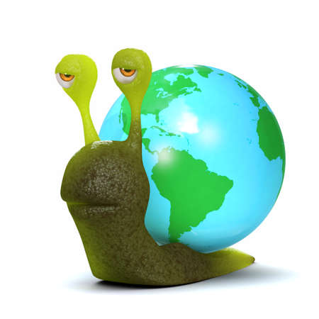 slither: 3d render of a snail with a globe shell Stock Photo