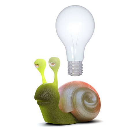 slither: 3d render of a snail with a lightbulb over his head