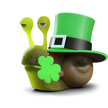 slither: 3d render of a snail celebrating St Patricks day
