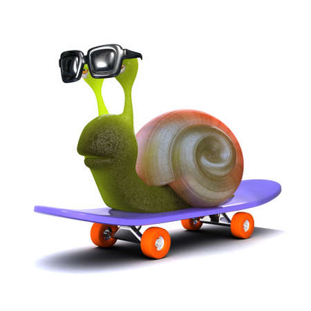 3d render of a snail on a skateboard photo
