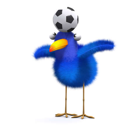 3d render of a blue bird balancing a football on his head photo