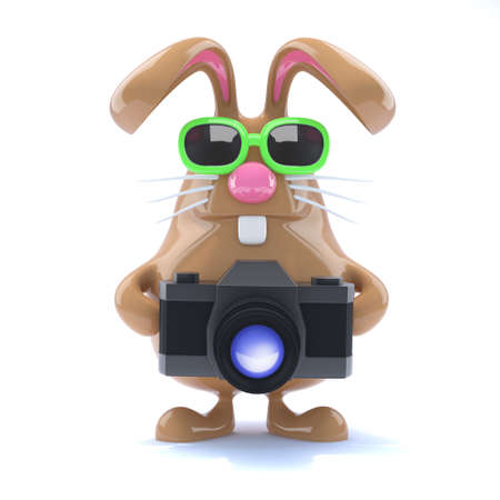 3d render of an Easter rabbit with his camera photo