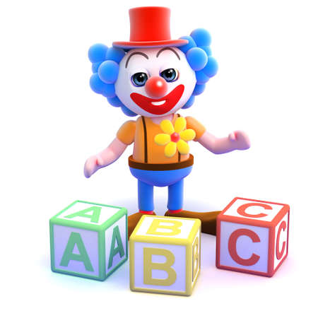 3d render of a clown with alphabet blocks photo