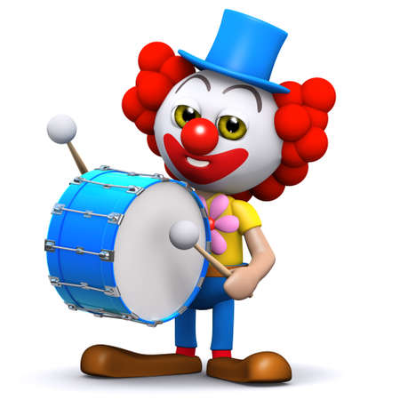 3d render of a clown banging a big bass drum photo
