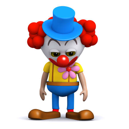 3d render of a clown looking dejected photo