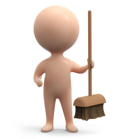 3d render of a little man holding out a broom photo