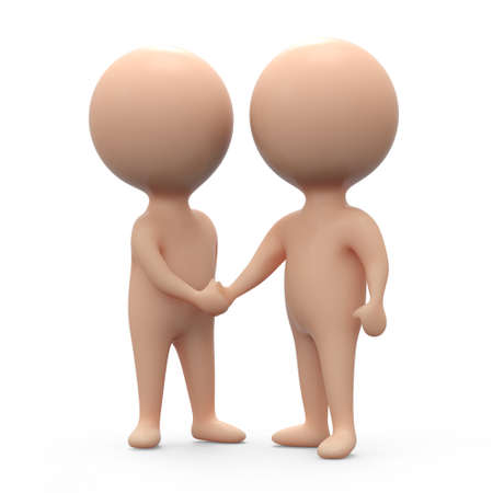 3d render of two little people shaking hands photo
