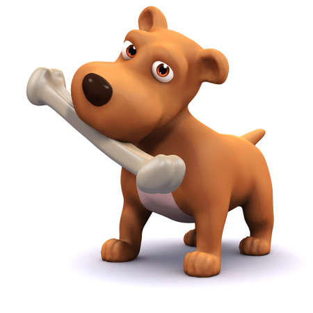 hound dog: 3d render of a dog with a bone