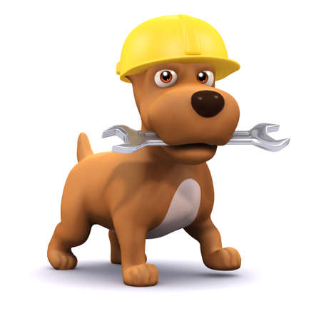 faithful: 3d render of a dog wearing a hard hat and carrying a spanner in its mouth