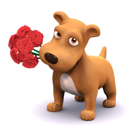 faithful: 3d render of a dog with a bunch of flowers in its mouth