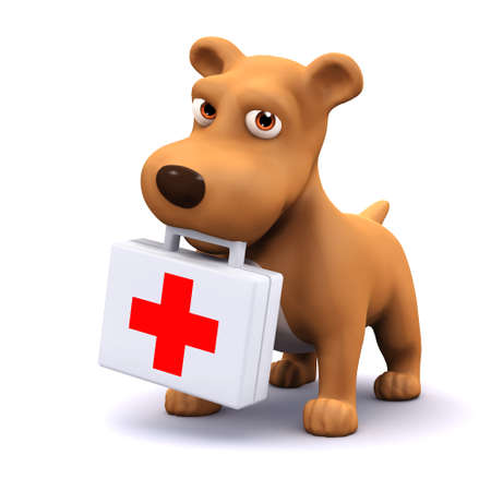 3d render of a dog with a first aid kit photo