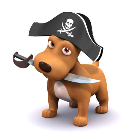 cutlass: 3d render of a dog with a pirates hat and cutlass Stock Photo
