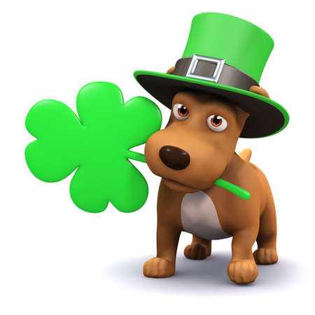 3d render of a dog celebrating St Patricks Day photo