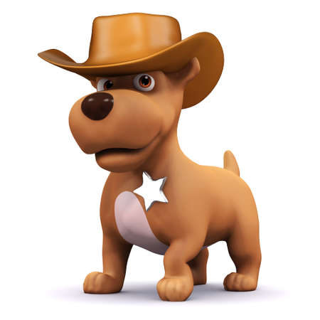 3d render of a dog dressed as a cowboy photo