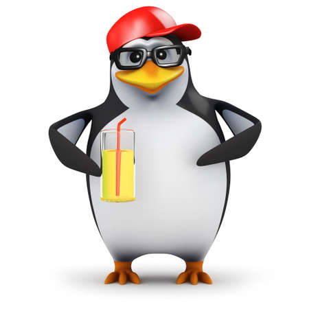 3d render of a penguin holding a glass of juice photo