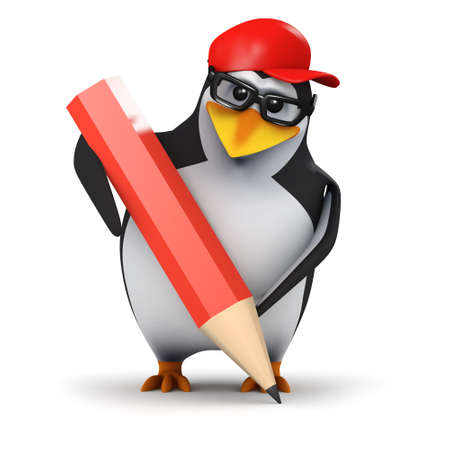 3d render of a penguin holding a pencil photo