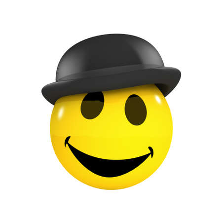 bowler hat: 3d render of a smiley wearing a bowler hat Stock Photo