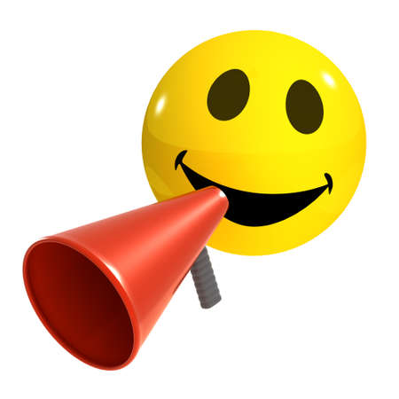 loud hailer: 3d render of a smiley with a loud hailer