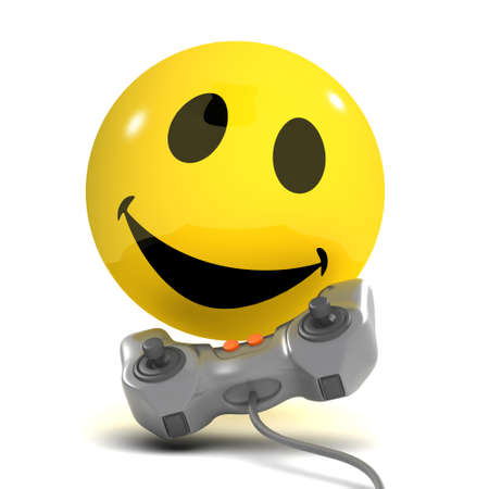 playing video games: 3d render of a smiley playing video games