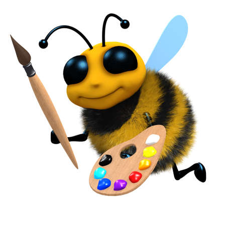 3d render of a bee with a brush and pallete photo