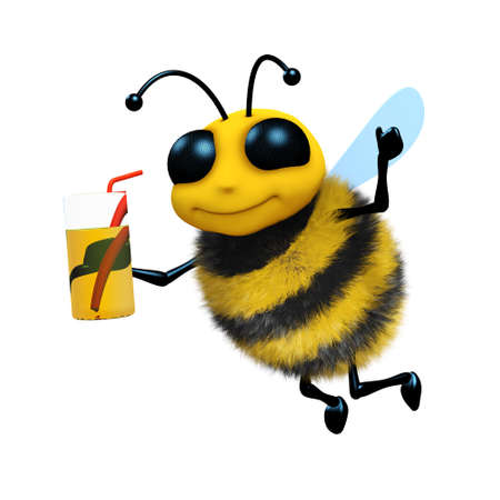 3d render of a bee with a drink photo