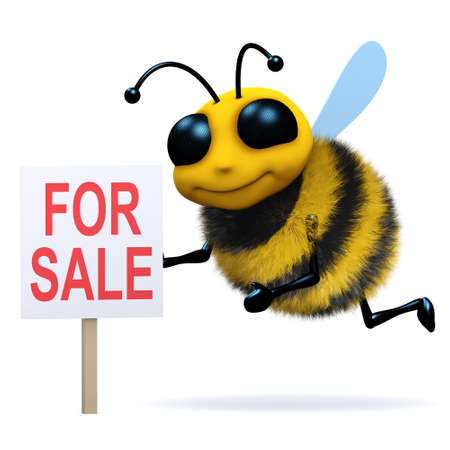 3d render of a bee with a For Sale sign photo