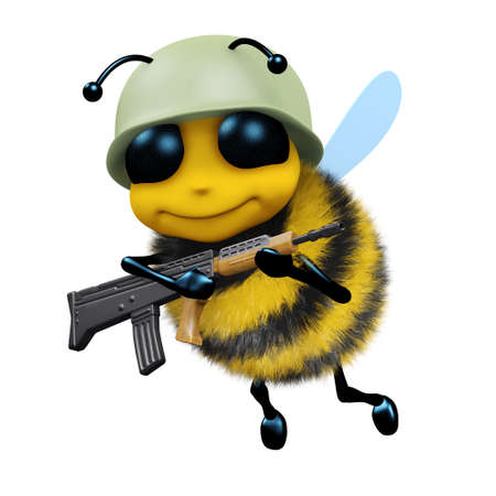 3d render of a bee dressed as a soldier photo