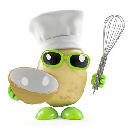 3d render of a potato dressed as a chef with a mixing bowl photo