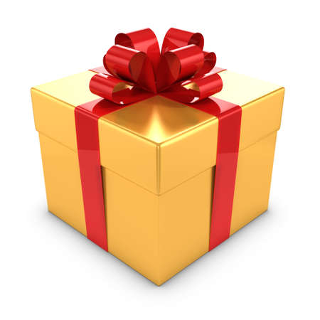 3d render of a gold and red gift box photo