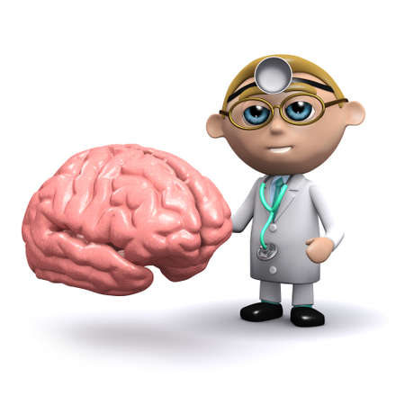 3d render of a doctor with a brain photo