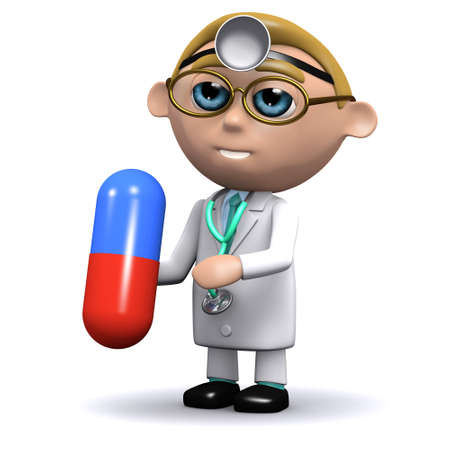 3d render of a doctor holding a capsule photo