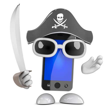 cutlass: 3d render of a smartphone dressed as a pirate