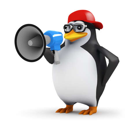 announcer: 3d render of a penguin with megaphone