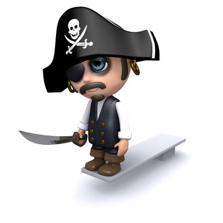 3d render of a pirate walking the plank photo