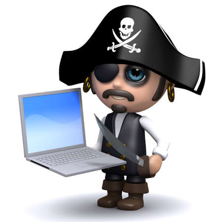 brigand: 3d render of a pirate with a laptop