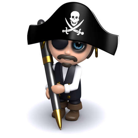 brigand: 3d render of a pirate with a pen