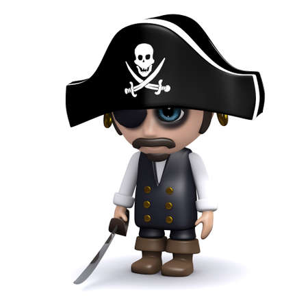 downhearted: 3d render of a sad pirate