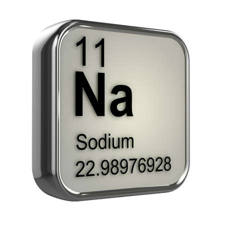 protons: 3d render of the sodium element from the periodic table Stock Photo