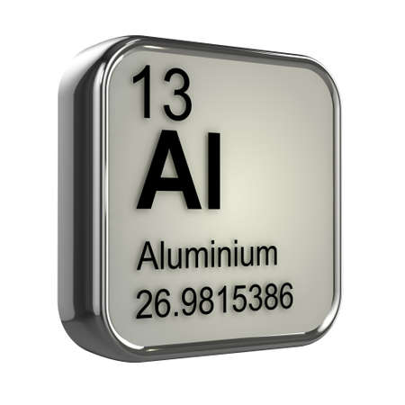 isotopes: 3d render of the aluminium element from the periodic table Stock Photo