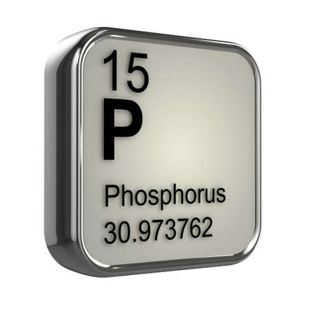 phosphorus: 3d render of the phosphorus element from the periodic table Stock Photo