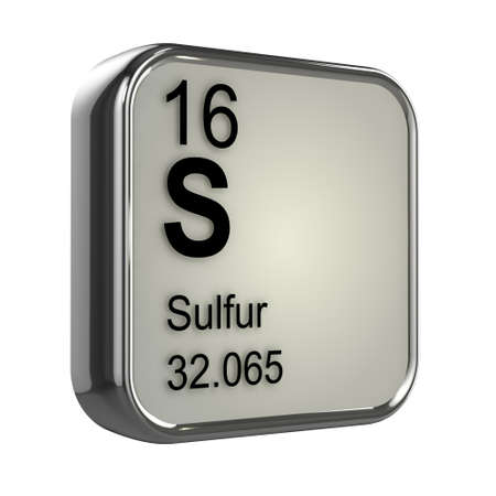 isotopes: 3d render of the sulfur element from the periodic table