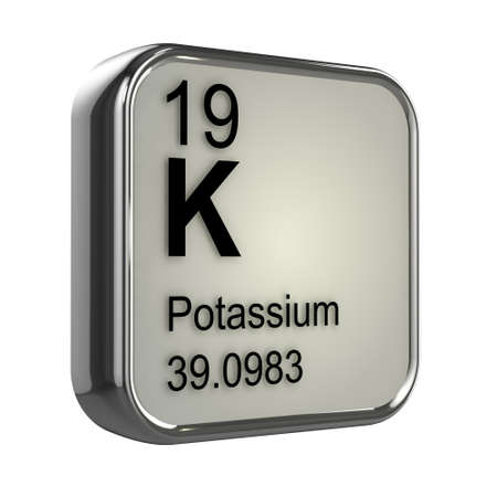 protons: 3d render of the potassium element from the periodic table Stock Photo