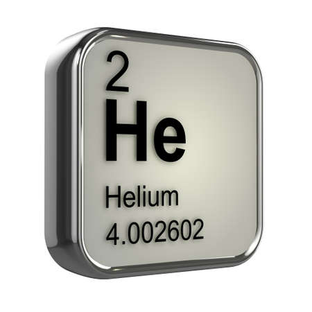protons: 3d render of the helium element from the periodic table