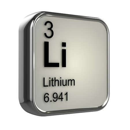protons: 3d render of the lithium element from the periodic table Stock Photo