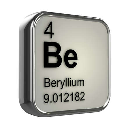 protons: 3d render of the berylium element from the periodic table