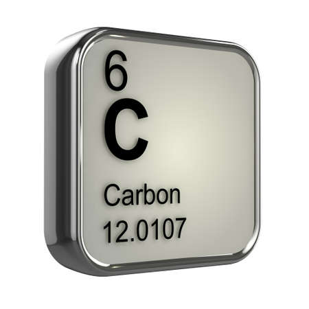 protons: 3d render of the carbon element from the periodic table