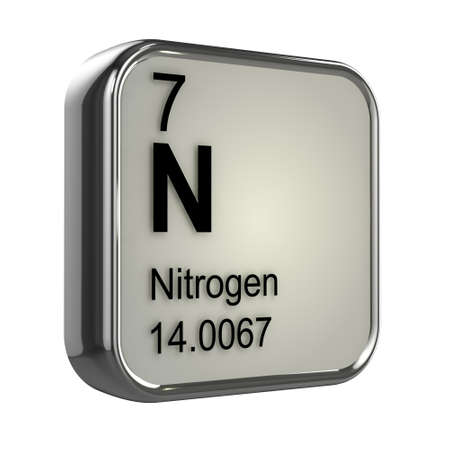 isotopes: 3d render of the nitrogen element from the periodic table