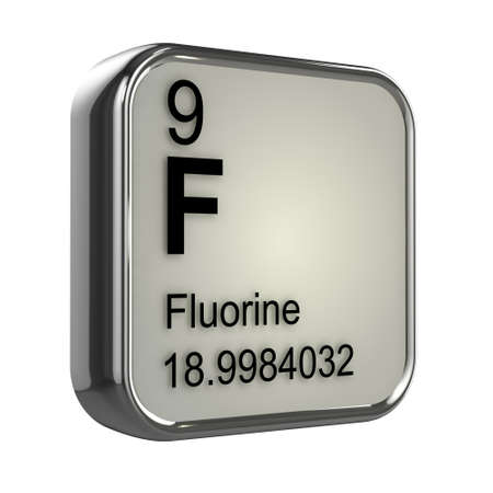 fluorine: 3d render of the fluorine element from the periodic table Stock Photo